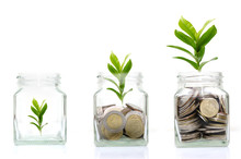 Coins Glass Jar With Investment  For Money Saving And Investment Financial Concept