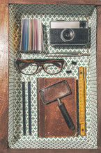 The Objects Of A Vintage Graphic Designer Man In A Wood Drawer.