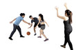 Multiracial people playing basketball