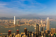 Hong Kong city downtown with blue sky background, cityscape background