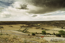 Landscape With Roads And Cloudy Sky