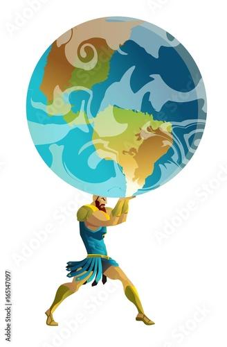 Fotografía  atlas the titan holding the sky earth globe on his shoulders
