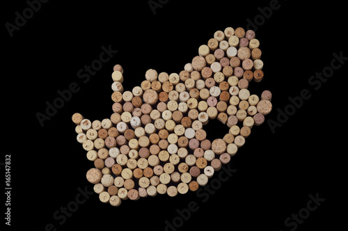 Valokuva  Countries winemakers - maps from wine corks
