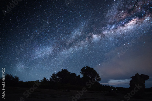 Photo Starry night with milkyway( Visible noise due to high ISO, soft focus, Shallow D