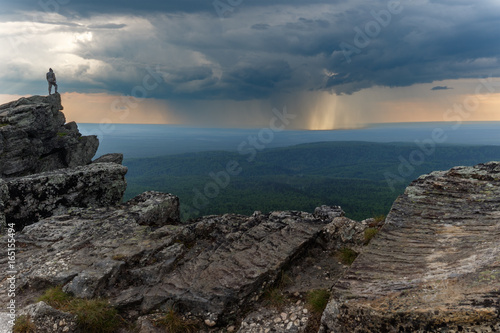 View on the storm from overcome mountain. Wallpaper Mural