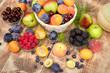 Healthy diet, healthy food - organic seasonal fruits on table