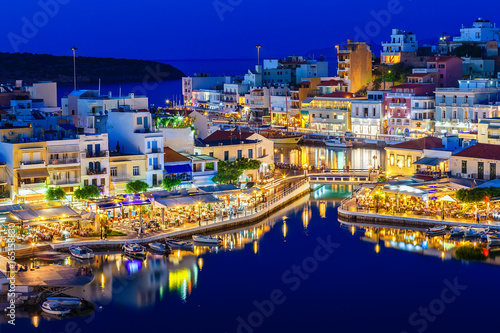 Fototapety, obrazy: Aghios Nikolaos night view - picturesque town in the eastern of island Crete built on northwest side of the peaceful bay of Mirabello