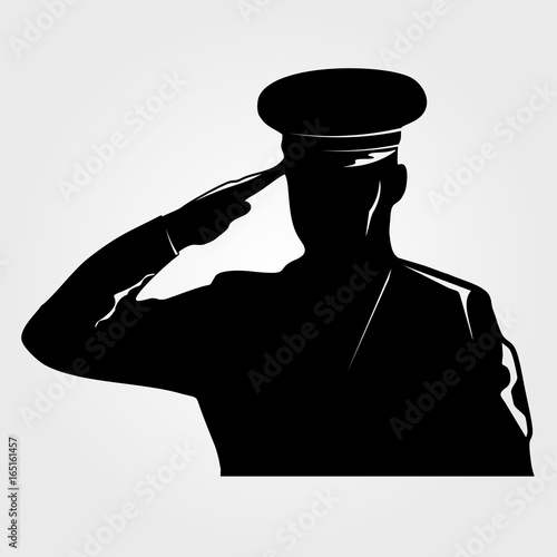 Fotografering Saluting Army general  silhouette