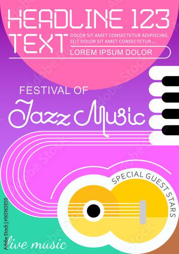 Foto auf Leinwand Abstractie Art Jazz Music poster template design