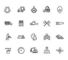 Timber Industry Icons On White