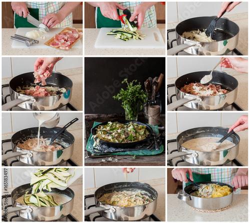 Fotografie, Obraz  A Step by Step Collage of Making Fettuccine Alfredo