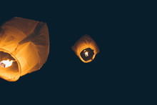 Sky Lantern By Night