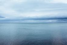 Horizon . Ocean With Cloudy Sk...