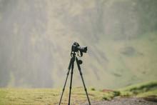 Camera On A Tripod In A Nature...