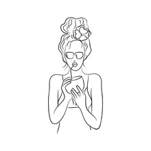 Vector Black White Contour Simple Sketch Of  Girl In Sun Glasses With Coconut Drink