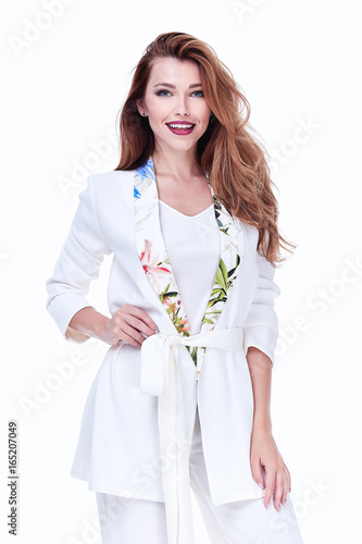 Beautiful Woman Lady Spring Autumn Collection Glamor Model Business Office Fashion Clothes Wear Casual Style White