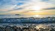 Coastal wave. Sunset sea.