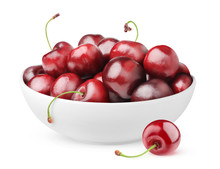 Isolated Cherries. Pile Of Sweet Cherry Fruits In Ceramic Bowl Isolated On White Background With Clipping Path