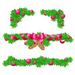 Four parts of Christmas decoration for rectangle areas / There are upper, lower and two angular compositions with fir branches, fir cones, bow, ribbons and balls
