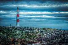 Tarbat Ness Lighthouse, Highlands, Scotland At Dusk