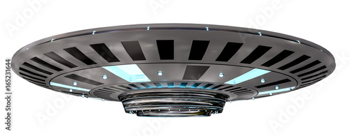 Vintage UFO isolated on white background 3D rendering