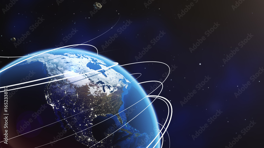 Fototapety, obrazy: Planet earth from space with energy white streaks. Some elements of this image furnished by NASA. 3d illustration. Closeup earth orbit.