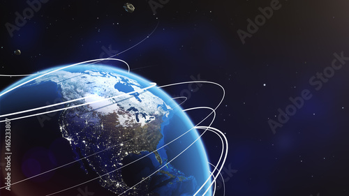 Obraz Planet earth from space with energy white streaks. Some elements of this image furnished by NASA. 3d illustration. Closeup earth orbit. - fototapety do salonu