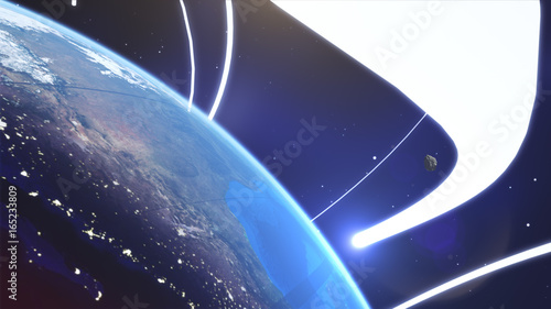 Photo Planet earth from space with energy white streaks