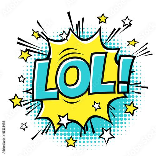 LOL! phrase in speech bubble  Comic text  Vector bubble icon
