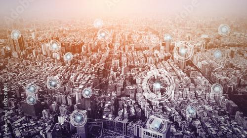 Fotografia  City with connection line concept , technology conceptual, internet globalizatio
