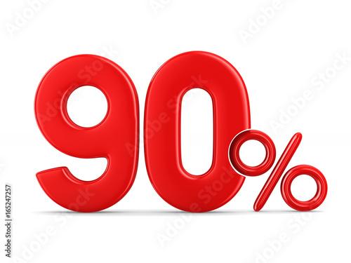 Photo  Ninety percent on white background. Isolated 3D illustration