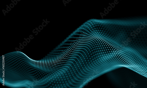 Photo Stands Fractal waves Abstract Blue Geometrical Background . Futuristic technology style. Neon Sign . Futuristic Technology HUD Element . Elegant Abstract background . Big data visualization .