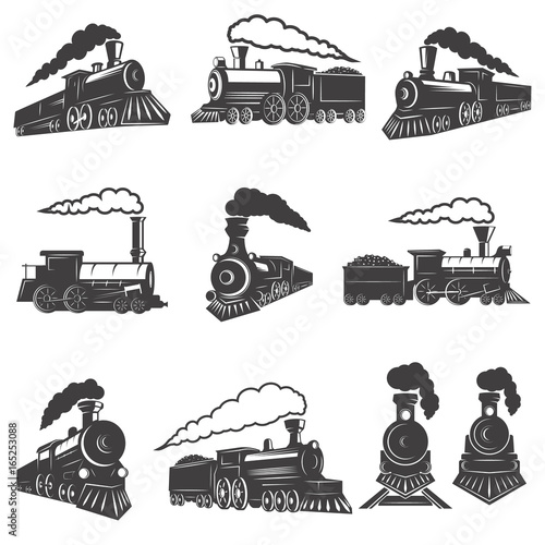 Set of vintage trains isolated on white background. Design element for label, brand mark, sign, poster. Vector illustration