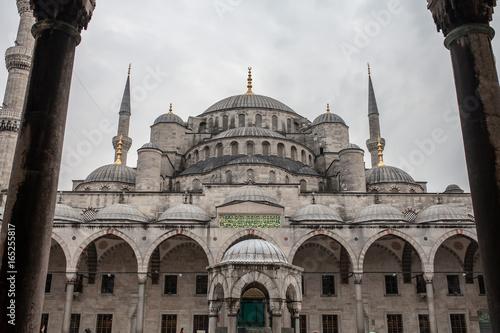 Plakat Sułtanu Ahmed meczet a Błękitny meczet w Istanbuł, Turcja
