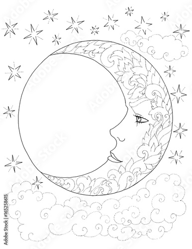 Moon Crescent Sky Clouds Stars Flower Patterns Tattoo Buy