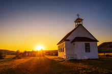 Sunset Over The Old Church In ...