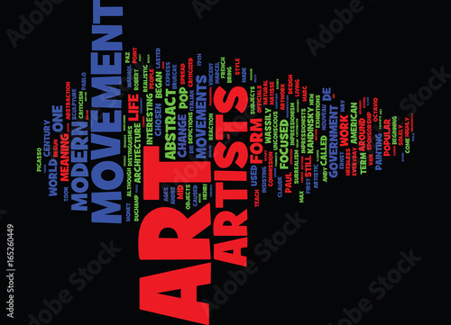 Photo  THE MODERN ART MOVEMENTS Text Background Word Cloud Concept