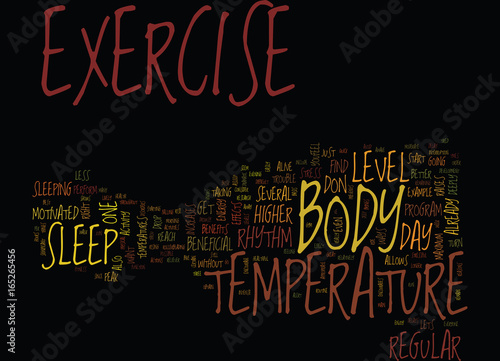 Fotografering  THE EFFECTS OF EXERCISE ON BODY TEMPERATURE Text Background Word Cloud Concept