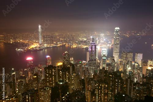 Photo  Night of hongkong china.