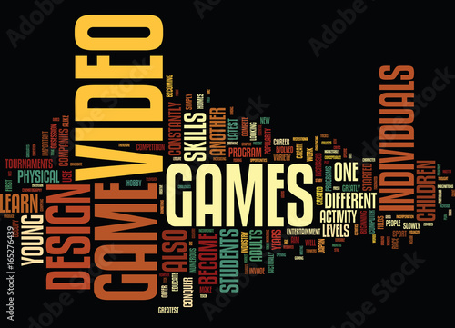 Fényképezés  THE ART OF VIDEO GAME DESIGN Text Background Word Cloud Concept