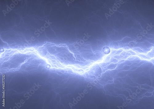 In de dag Fractal waves Blue lightning, abstract plasma lightning