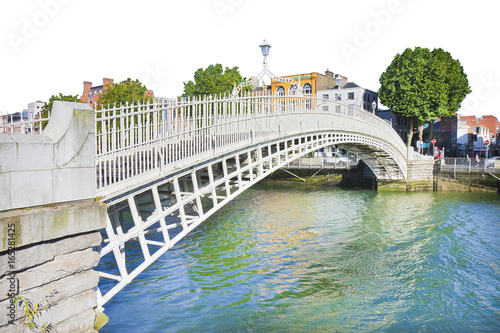 """Photo  The most famous bridge in Dublin called """"Half penny bridge"""" on white background"""