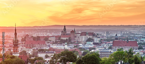 Fototapeta Krakow panorama from Krakus Mound, Poland landscape during sunset. obraz