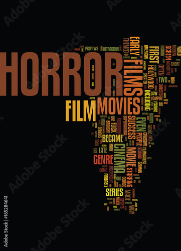 Photo  MONSTERS AND DEMONS A SHORT HISTORY OF THE HORROR FILM Text Background Word Clou