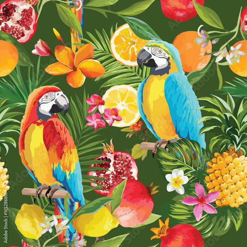 Poster Parrot Seamless Tropical Fruits and Parrot Pattern in Vector. Pomegranate, Lemon, Orange Flowers, Leaves and Fruits Background.