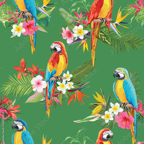 Deurstickers Papegaai Tropical Flowers and Parrot Birds Seamless Background. Retro Summer Pattern in Vector
