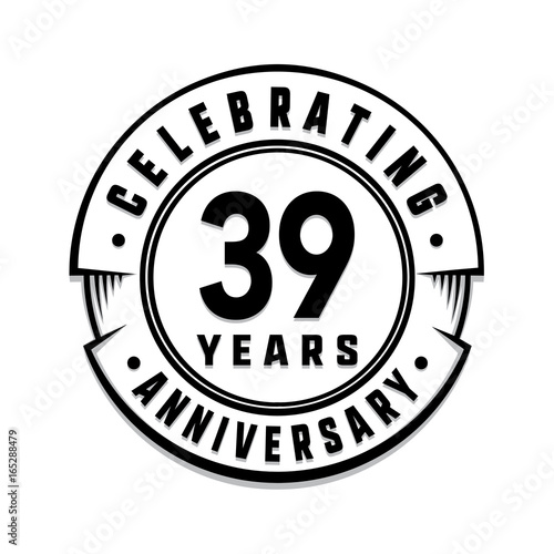 Poster 39 years anniversary logo template. Vector and illustration.