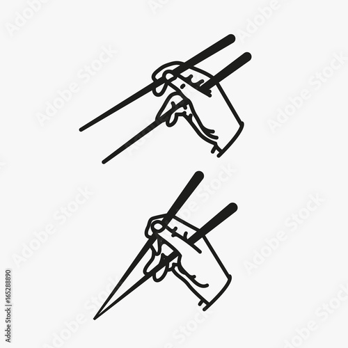 Sushi Chopsticks in Hand Minimalistic Flat Line Outline Stroke Icon Pictogram Sy Wallpaper Mural
