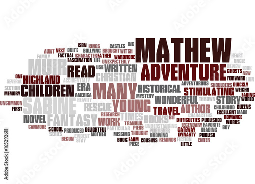 Fotografie, Obraz  MATHEW AND THE HIGHLAND RESCUE BOOK REVIEW Text Background Word Cloud Concept