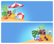 3d render, digital illustration, paper craft, summer holiday, beach picnic, tropical island, blank banner set, card, design template